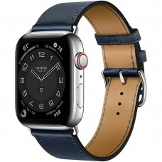 Часы Apple Watch Hermès Series 6 GPS + Cellular 44mm Silver Stainless Steel Case with Single Tour (Navy)