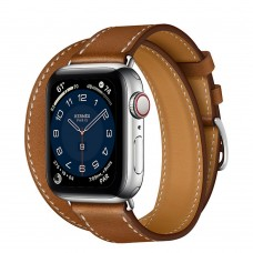 Часы Apple Watch Hermès Series 6 GPS + Cellular 40mm Silver Stainless Steel Case with Double Tour, серебристый/Fauve