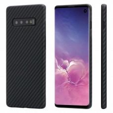 Карбоновый (кевлар) чехол Pitaka MagEZ Case (KS1001) для Samsung Galaxy S10 Black/Grey (черно-серый в полоску)