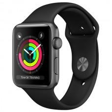 Умные часы Apple Watch Series 3 38mm Aluminum Case with Sport Band Black MTF02RU/A серый космос/черный
